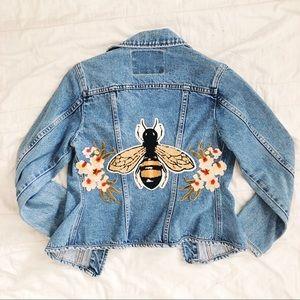 🐝 Vintage Denim Embellished w Chenille Bee